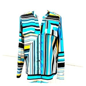 Bright multi-color roll up sleeves blouse